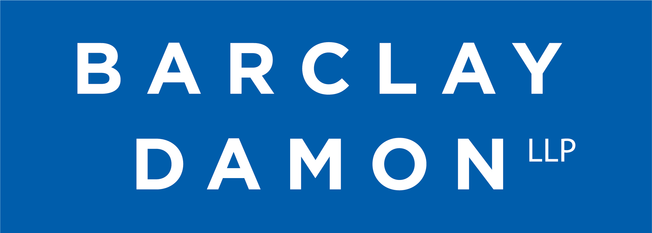 Barclay Damon LLP_Stacked Logo White on Blue