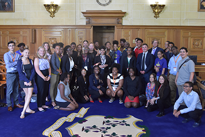 2019 L.A.W. Camp students from Hartford and New Britain with Connecticut Supreme Court Chief Justice Richard A. Robinson.