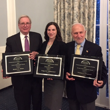 The 2019 CLABBY award winners Robert A. White, Paige M. Vaillancourt, and Thomas A. Gugliotti.